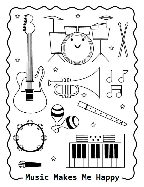 Music Makes Me Happy Coloring Page