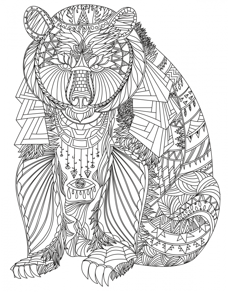 Bear Coloring Pages For Adults